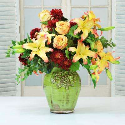 28 in. Tall Casablanca Lily and Rose Centerpiece in Green Vase