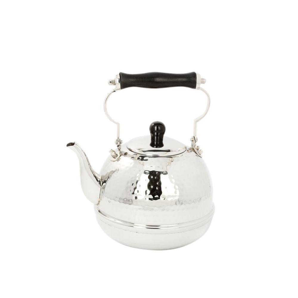 Old Dutch 2 Qt. Stainless Steel Hammered Tea Kettle with Wood Handle