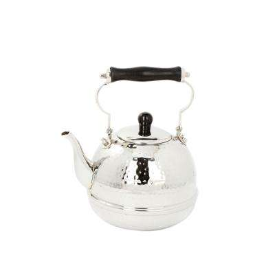 2 Qt. Stainless Steel Hammered Tea Kettle with Wood Handle