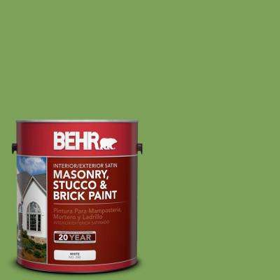 1 gal. #P380-6 Springview Green Satin Interior/Exterior Masonry, Stucco and Brick Paint