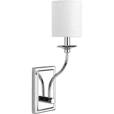 Bonita Collection 1-Light Polished Chrome Wall Sconce with White Linen Shade