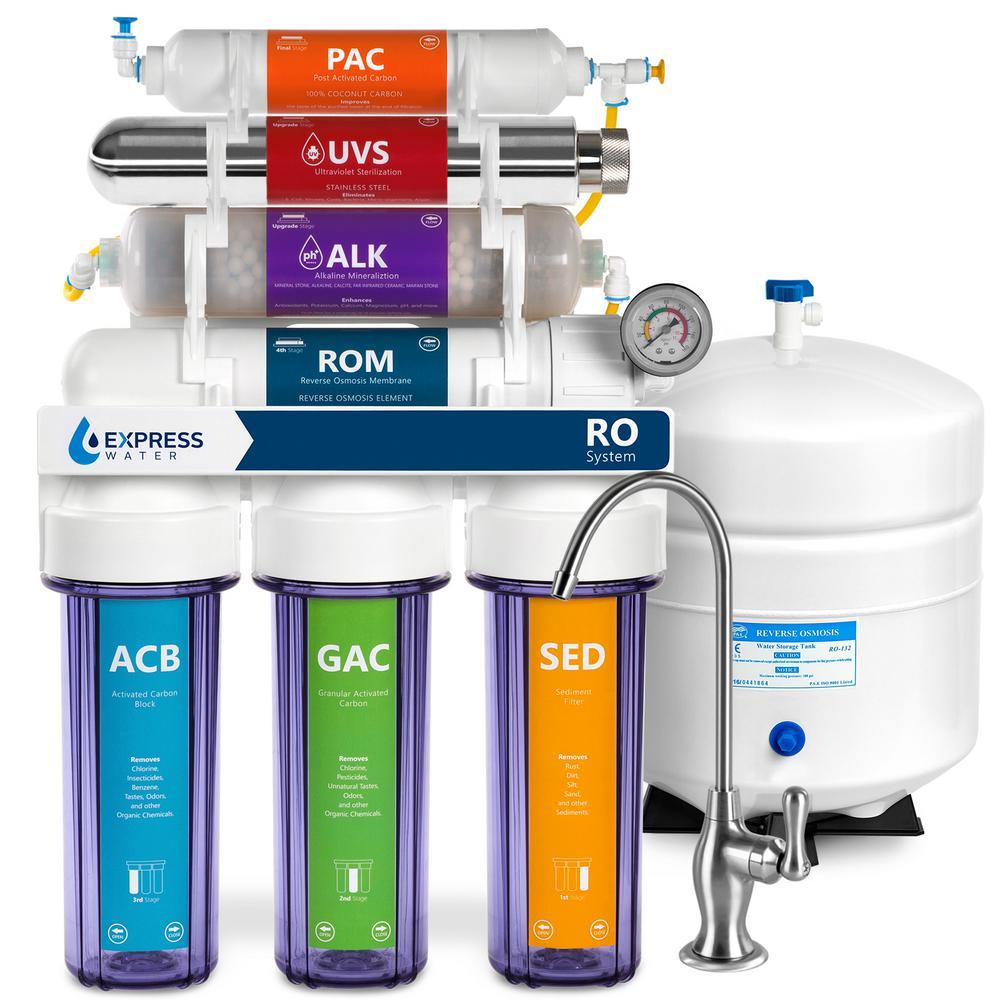 Alkaline UV Under Sink Reverse Osmosis Filtration - 11 Stage Filter w/ Faucet & Tank - 100 GPD w/ Gauge & Clear Housing