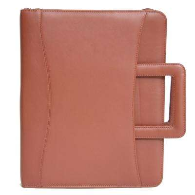 Executive Zippered Binder Writing Portfolio Organizer in Genuine Leather