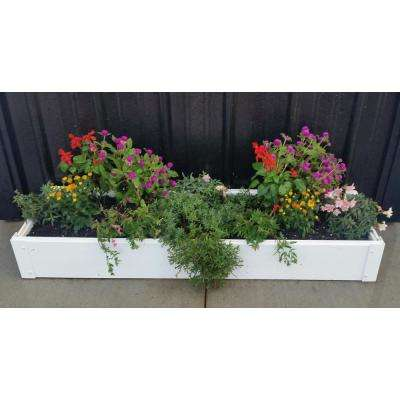 12 in. x 48 in. x 6 in White Vinyl Raised Garden Bed