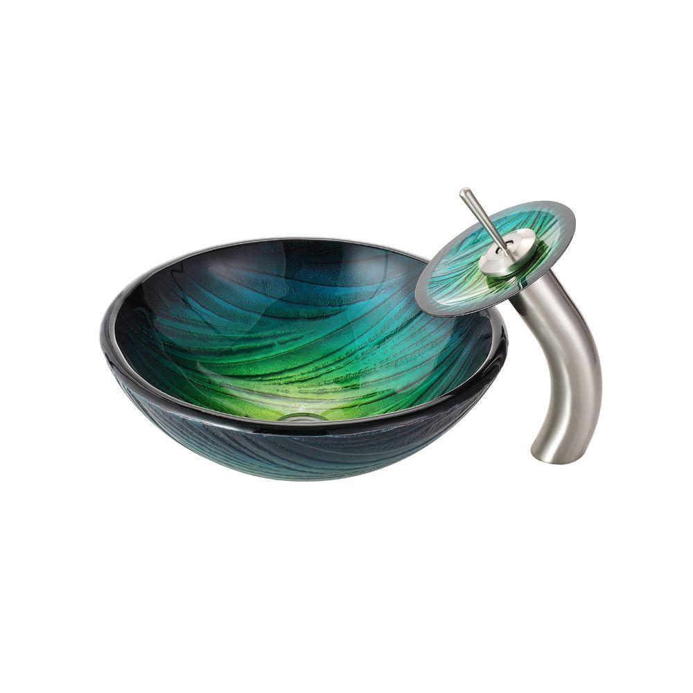 Jsg Oceana Alina Art Vessel Sink In Green Reflections 005