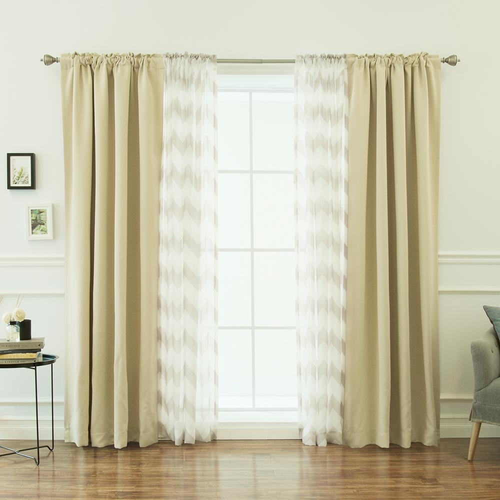 Best Home Fashion 52 In W X 84 L Umixm Sheer Chevron Blackout Curtains Beige 4 Pack