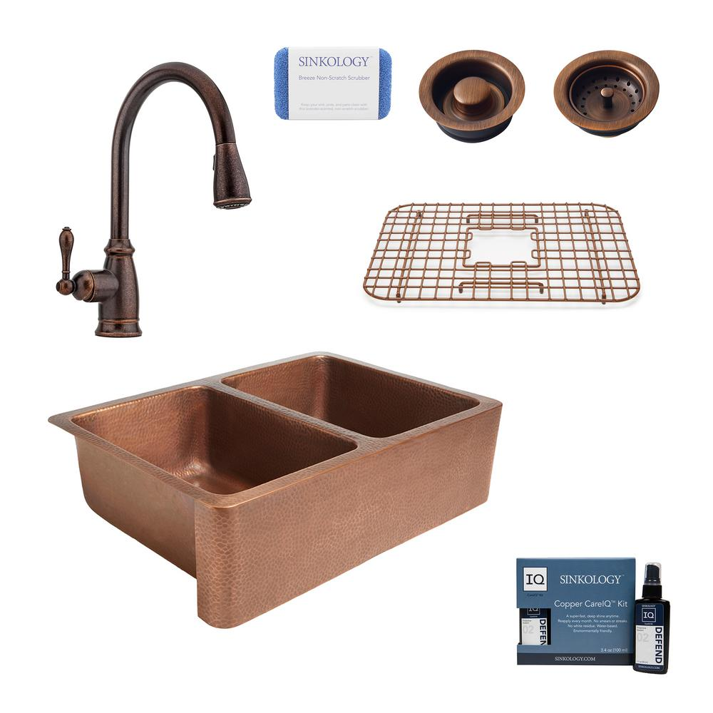 SINKOLOGY Rockwell Farmhouse Apron-Front Copper All-In-One 33 in. Double Bowl 50/50 Kitchen Sink with Pfister Faucet and Drains