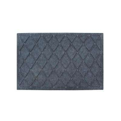 A1HC Diamond Charcoal Grey 24 in. x 36 in. Eco-Poly Scraper Mats with Anti-Slip Fabric Finish and Tire Crumb Backing