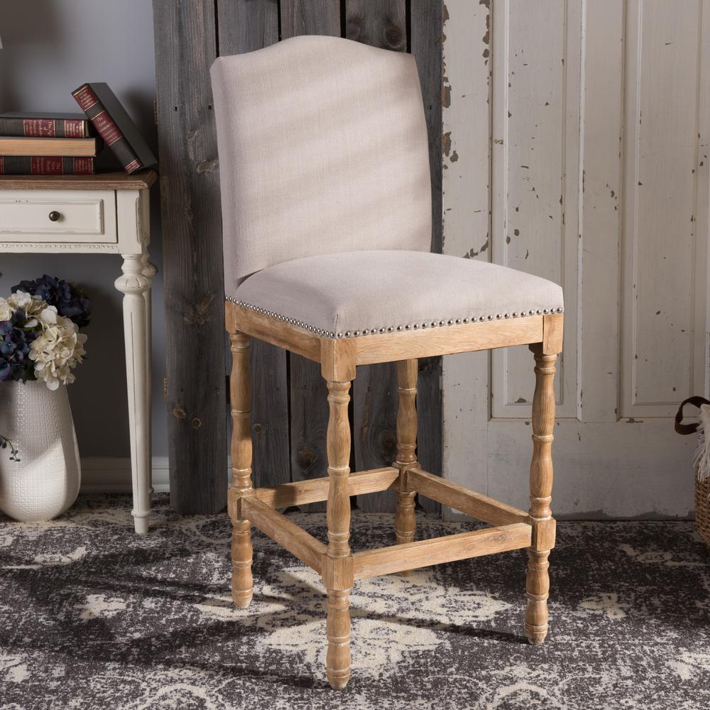 Baxton Studio Paige Beige Fabric Upholstered Bar Stool 28862 7375 Hd