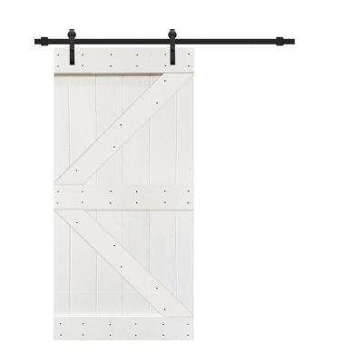 K Series 30 in. x 84 in. White Knotty Pine Wood Interior Sliding Barn Door with Hardware Kit