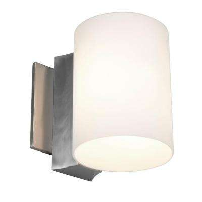 Tabo 1-Light Brushed Steel Vanity Light with Opal Glass Shade