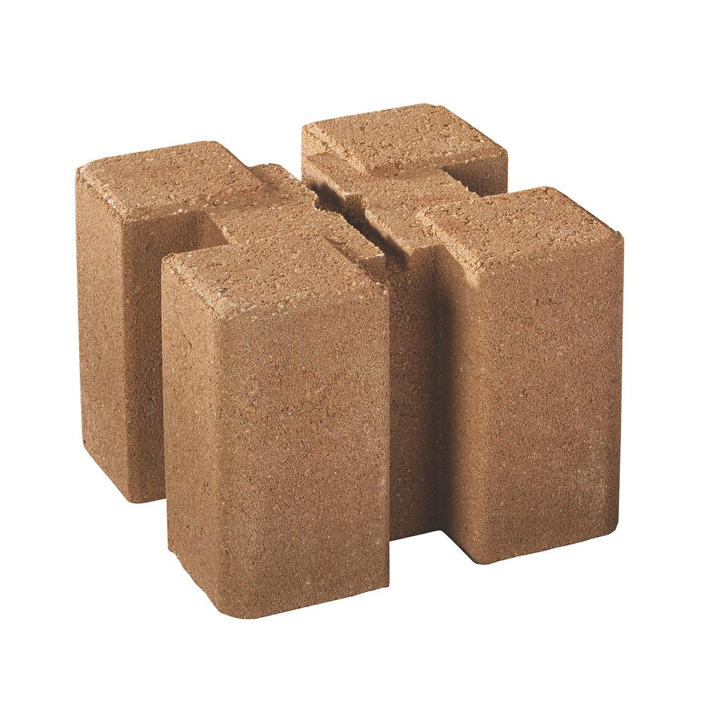 Oldcastle 7.5 in. x 7.5 in. x 5.5 in. Tan Brown Planter Wall Block ...