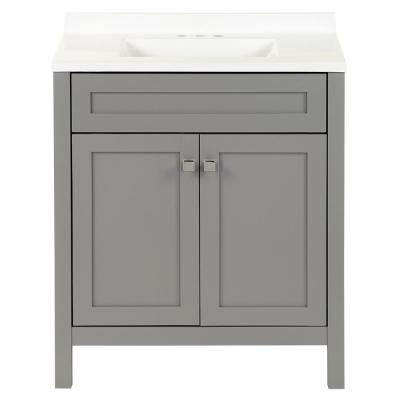 Maywell 30.5 in. W x 18.75 in. D Bath Vanity in Sterling Gray with Cultured Marble Vanity Top in White with White Sink
