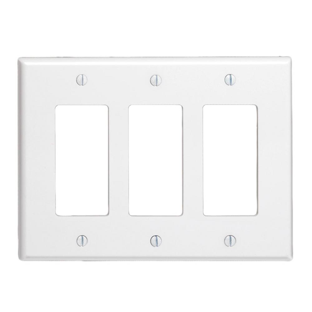 3-Gang Decora Midsize Wall Plate, White