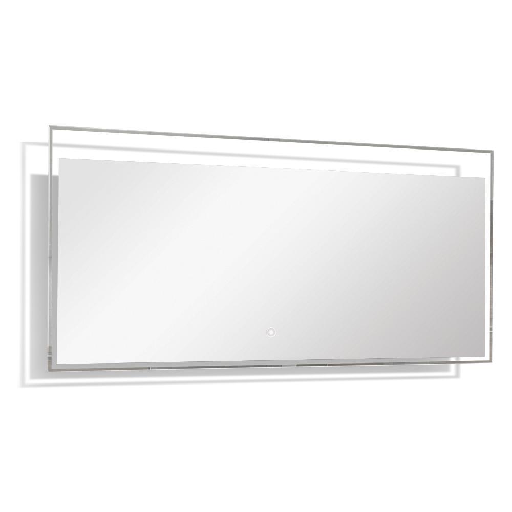 Taylor 55.12 in. W x 23.62 in. H Frameless Square LED Light Bathroom Vanity Mirror in Silver