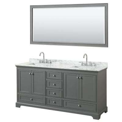 Deborah 72 in. Double Vanity in Dark Gray with Marble Vanity Top in White Carrara with White Basins and 70 in. Mirror
