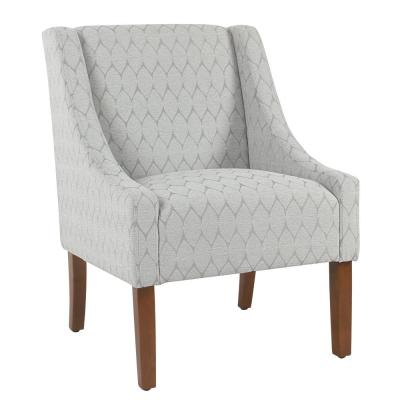 Modern Geo Textured Gray Modern Swoop Accent Chair