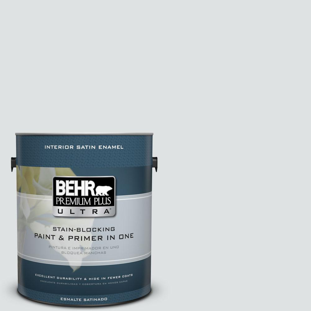 BEHR Premium Plus Ultra 1-gal. #W-F-520 Ash White Satin Enamel Interior Paint