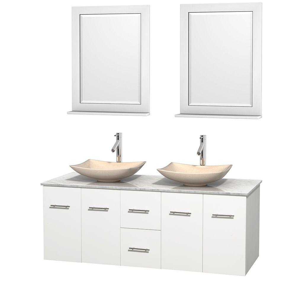 Wyndham Collection Centra 60 in. Double Vanity in White with Marble Vanity Top in Carrara White, Ivory Marble Sinks and 24 in. Mirrors
