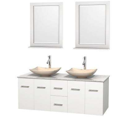 Centra 60 in. Double Vanity in White with Marble Vanity Top in Carrara White, Ivory Marble Sinks and 24 in. Mirrors