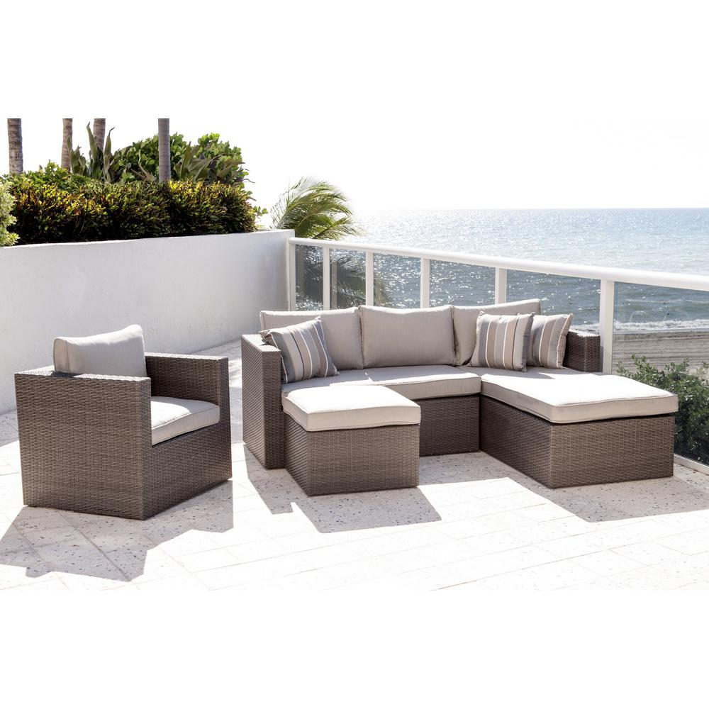 Atlantic Allen Grey 4 Piece Wicker Outdoor Sectional Set With Sunbrella Cushions