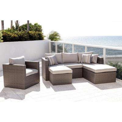 Allen Grey 4-Piece Wicker Outdoor Sectional Set with Sunbrella Cushions