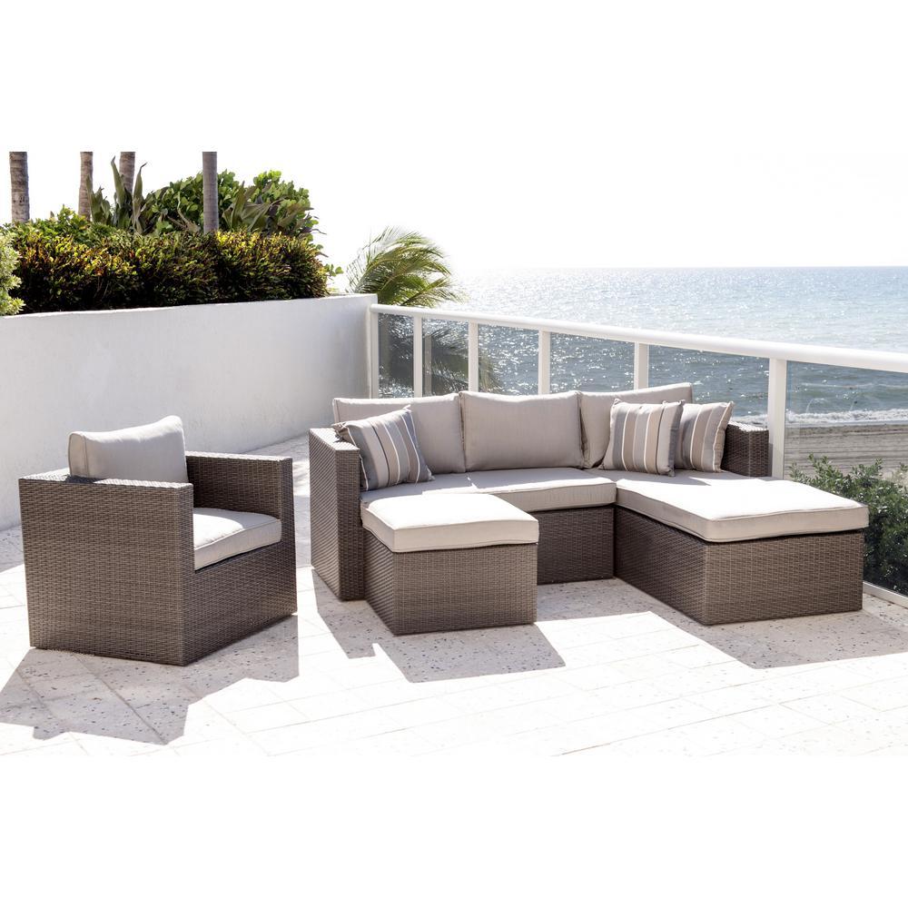 Allen Grey 4-Piece Wicker Outdoor Sectional Set with Sunbrella Cushions