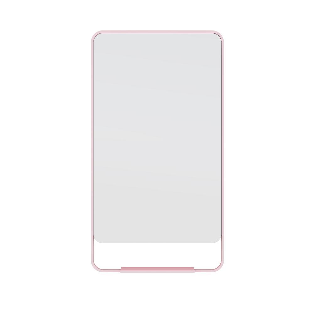 22 in. W x 40 in. H Framed Square Bathroom Vanity Mirror in Pink