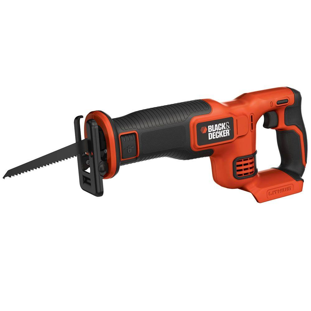 black decker 20 volt max lithium ion cordless reciprocating saw tool only bdcr20b the home depot. Black Bedroom Furniture Sets. Home Design Ideas