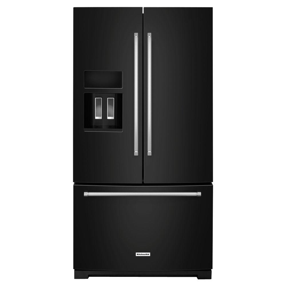 Shop Kitchenaid 20 8 Cu Ft Built In French Door: KitchenAid 36 In. W 26.8 Cu. Ft. French Door Refrigerator In Black-KRFF507EBL