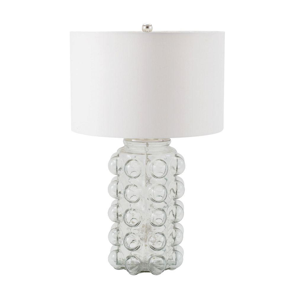 Clear Glass Table Lamp With Off White Shade