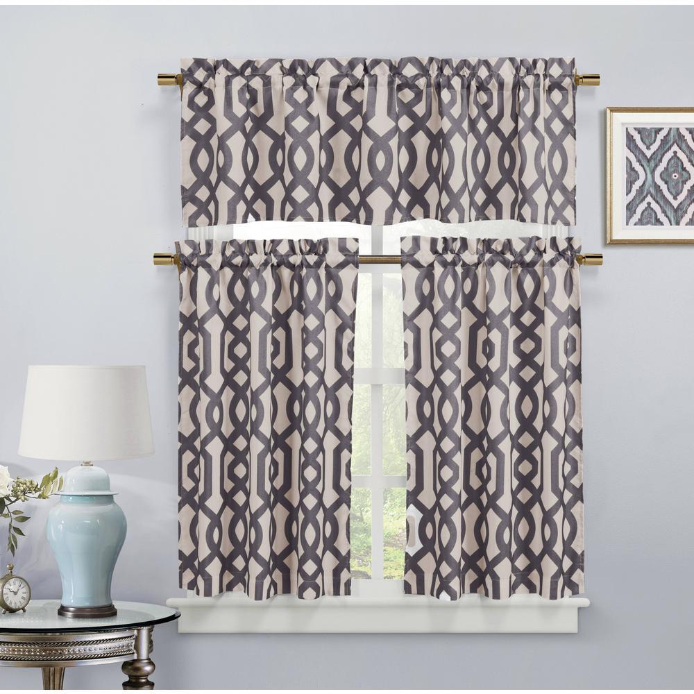 Ashmont Canvas Grey Room Darkening Kitchen Curtain - 58 in. W x 15 in. L (2-Piece)
