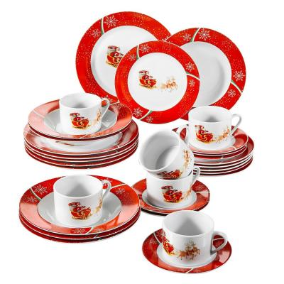 30-Piece Holiday Red and White Porcelain Dinnerware Set (Service for 6)