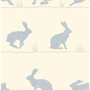 Nell Beige Rabbit Wallpaper Sample