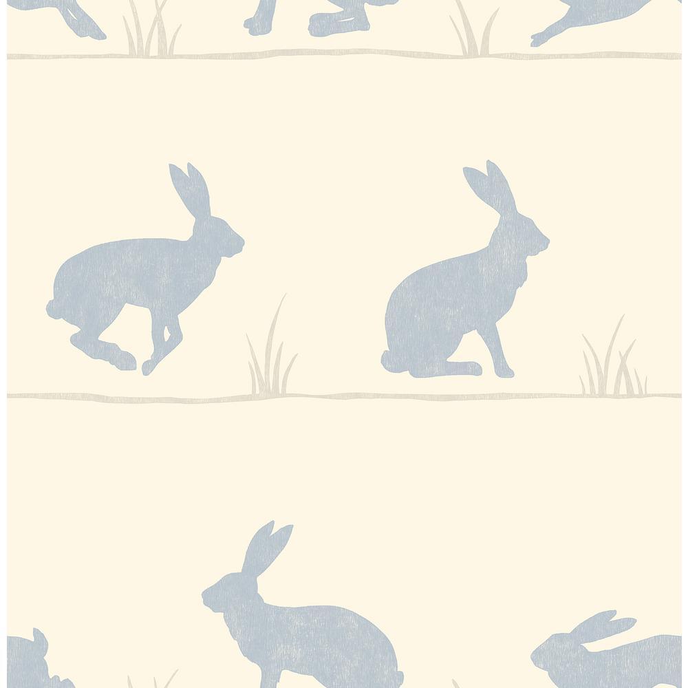 Nell Beige Rabbit Wallpaper Sample