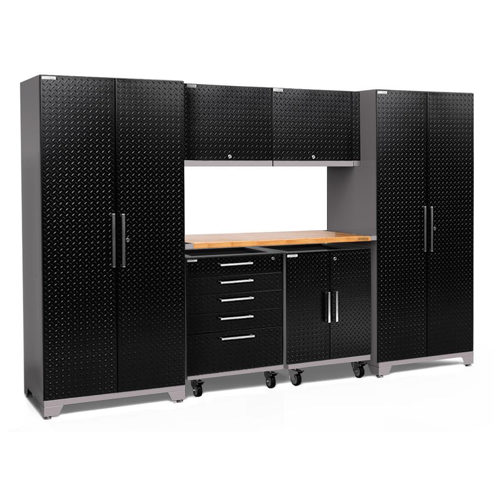 Performance Plus 2.0 Diamond Plate 85.25 in. H x 133 in. W x 24 in. D Steel Garage Cabinet Set in Black (8-Piece)