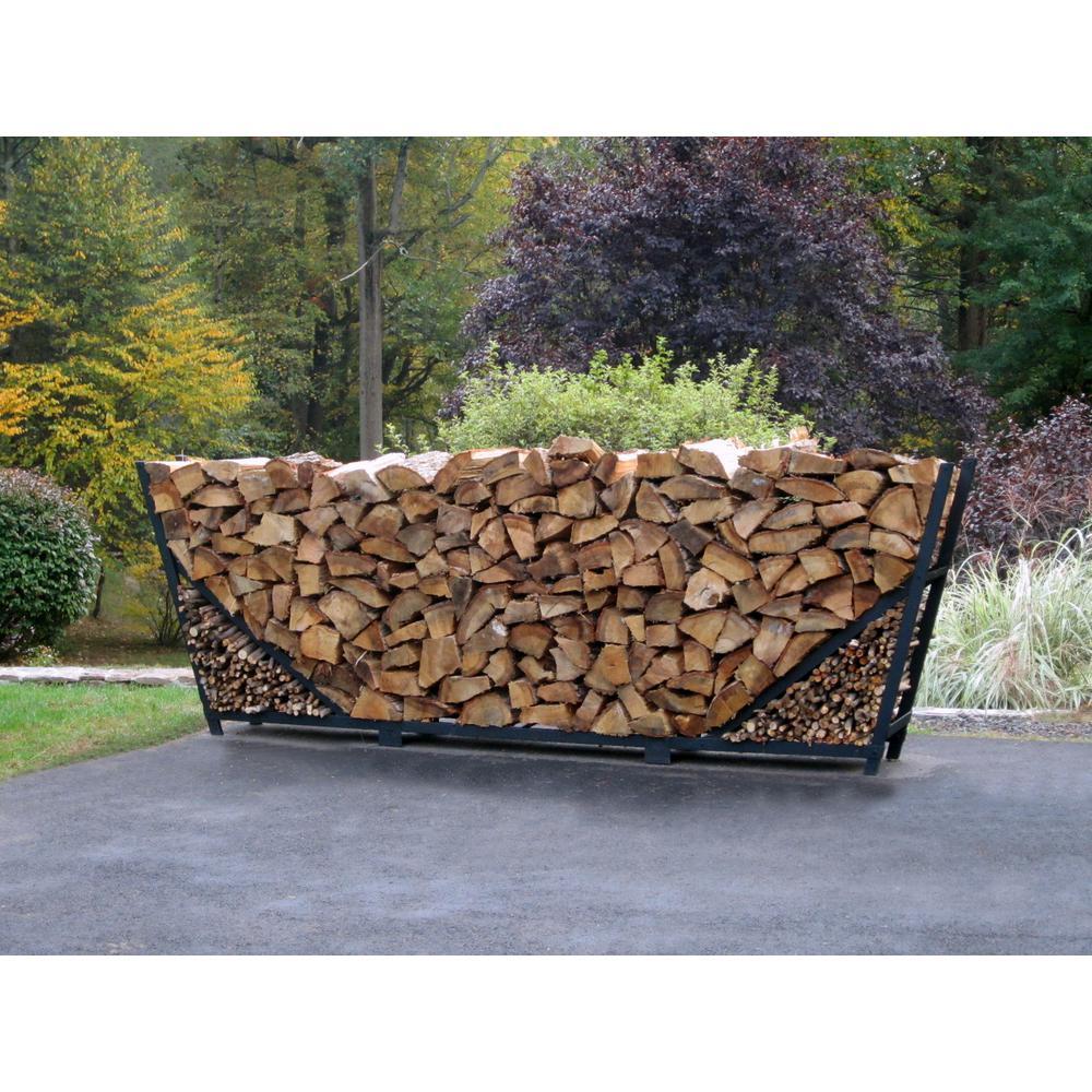 8 ft. Firewood Storage Log Rack with Kindling Holder Slant Leg Steel