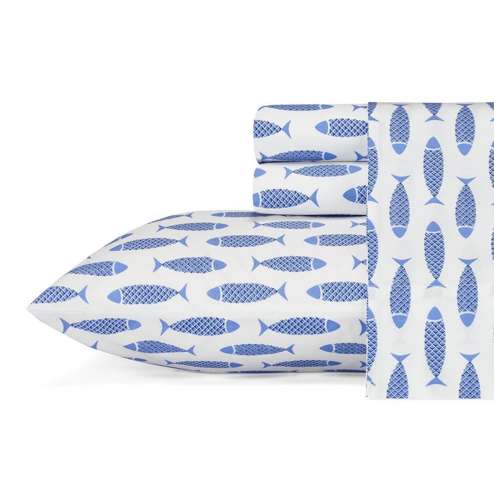 Woodblock Fish Blue 4-Piece Queen Sheet Set