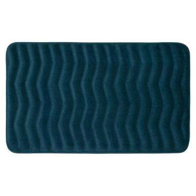Waves Dusty Blue 20 in. x 32 in. Memory Foam Bath Mat