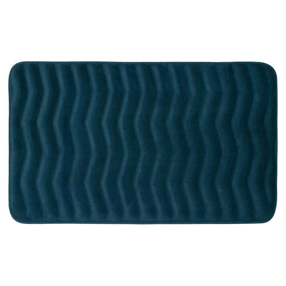 Waves Dusty Blue 20 in. x 32 in. Memory Foam Bath