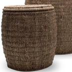 Tag Seagrass Storage Ottoman Baskets with Lids (Set of 3)