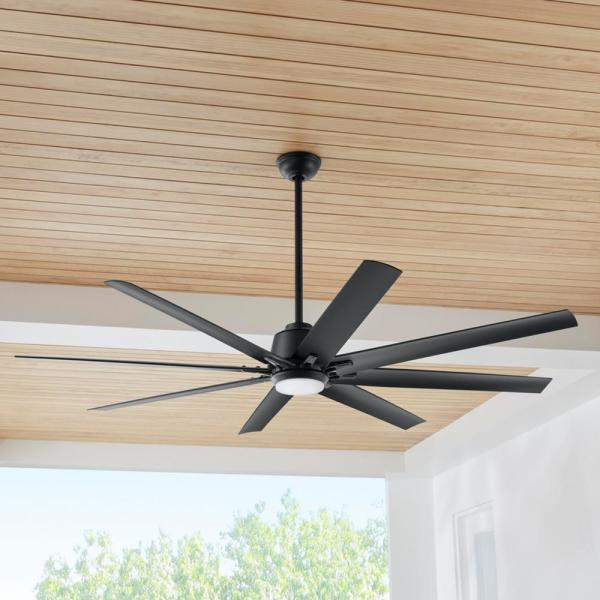 Home Decorators Collection Kensgrove 72 In Led Indoor Outdoor Matte Black Ceiling Fan With Light And Remote Control Yg493odc Mbk The Home Depot