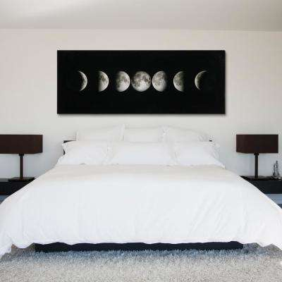 "24 in. x 63 in. ""Moon"" Frameless Free Floating Tempered Glass Panel Graphic Art"