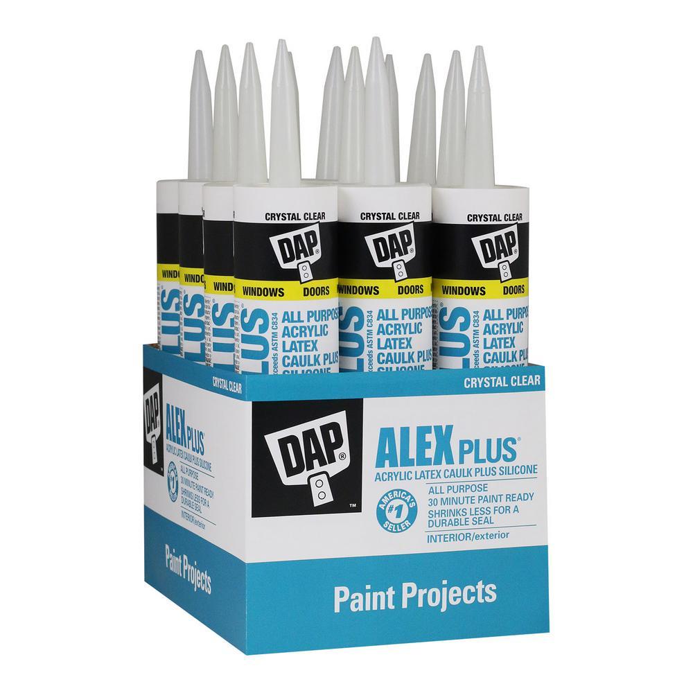 Dap Alex Plus 10 1 Oz Crystal Clear Acrylic Latex Caulk Plus Silicone 12 Pack 7079818401 The Home Depot