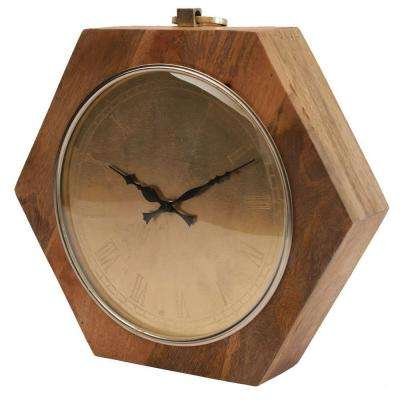 16 in. x 15.5 in. Hexagon Wooden Table Clock