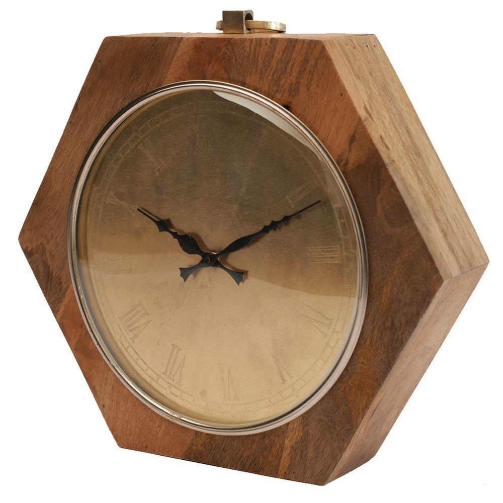 16 in. x 15.5 in. Hexagon Wooden Table Clock