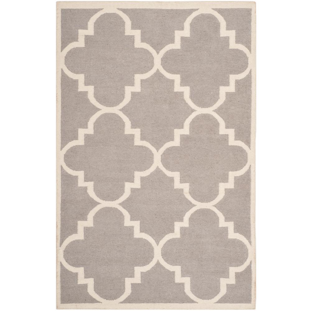 Dhurries Dark Gray/Ivory 5 ft. x 8 ft. Area Rug
