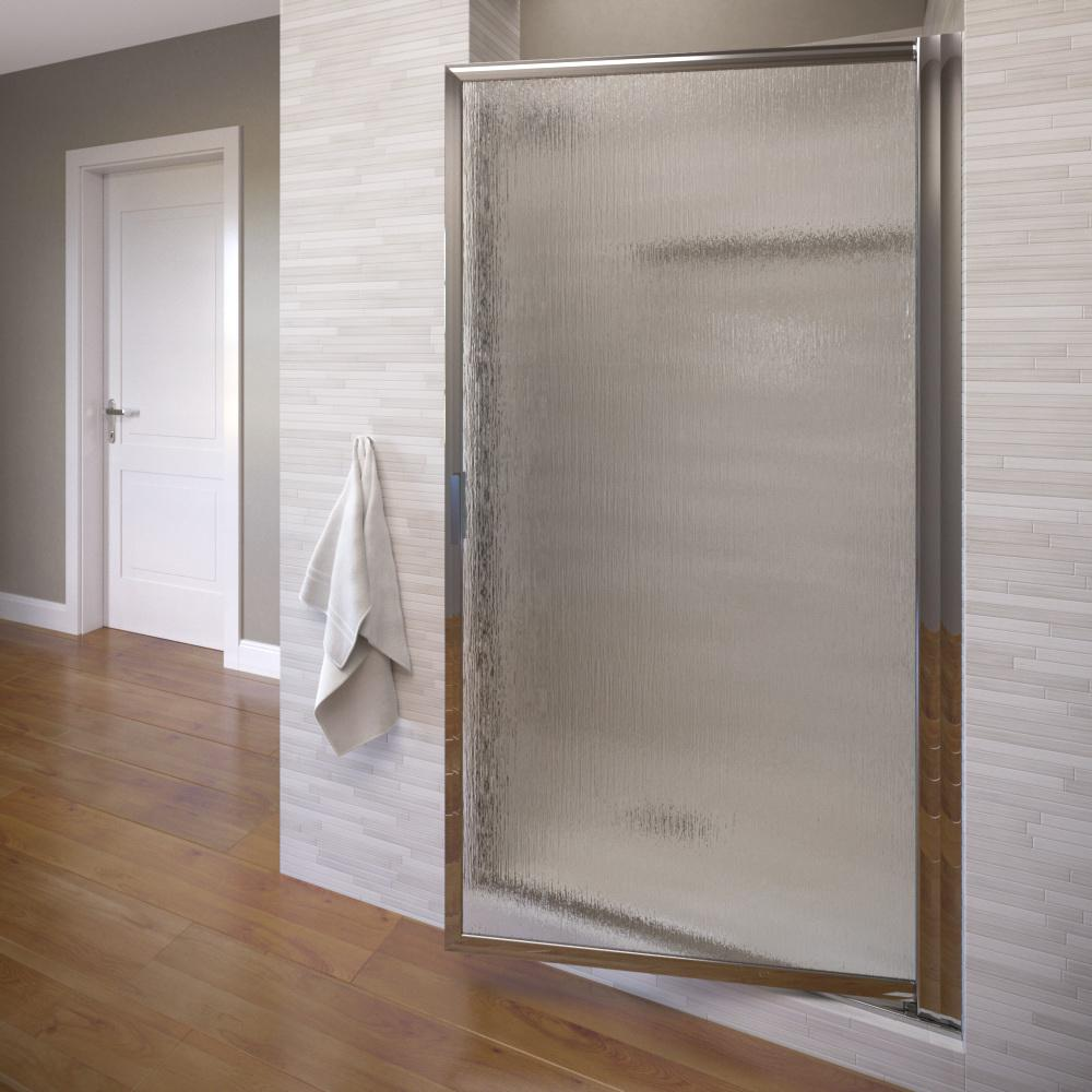 Basco Deluxe 34-7/8 in. x 67 in. Framed Pivot Shower Door in Silver