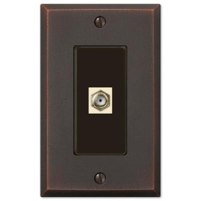 Manhattan 1 Gang Coax Metal Wall Plate - Aged Bronze