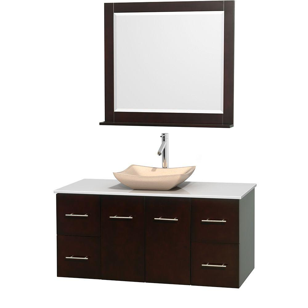 Wyndham Collection Centra 48 in. Vanity in Espresso with Solid-Surface Vanity Top in White, Ivory Marble Sink and 36 in. Mirror